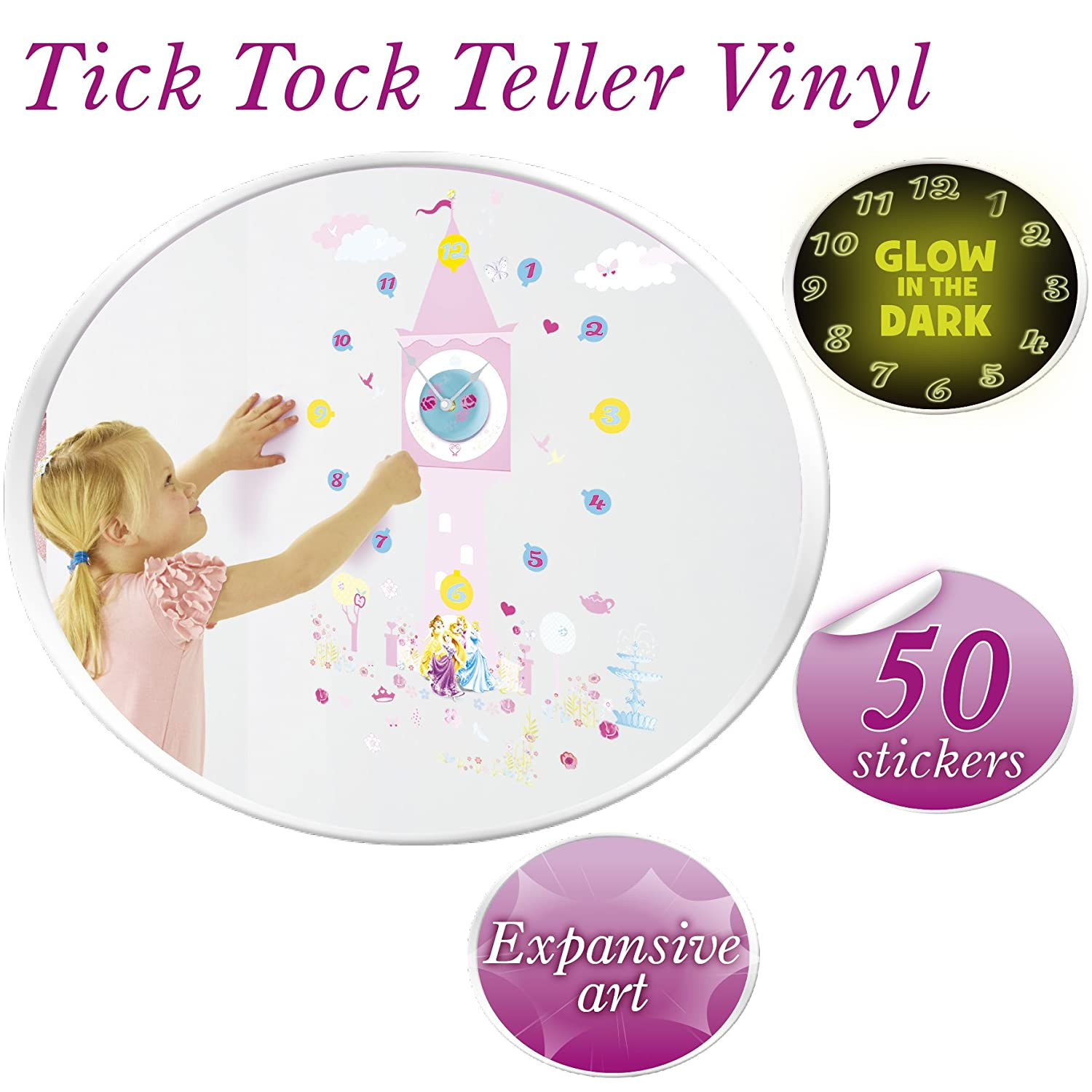disney princess tell the time with me wall clock wall sticker disney princess tell the time with me wall clock wall sticker pink disney princess amazon co uk kitchen home