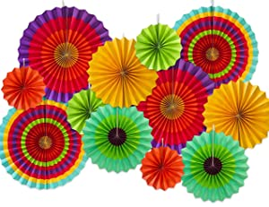 Moon Boat 12 Paper Fan Mexican Fiesta/Cinco De Mayo /Carnival/ Kids Party Hanging Decoration Supplies Favors