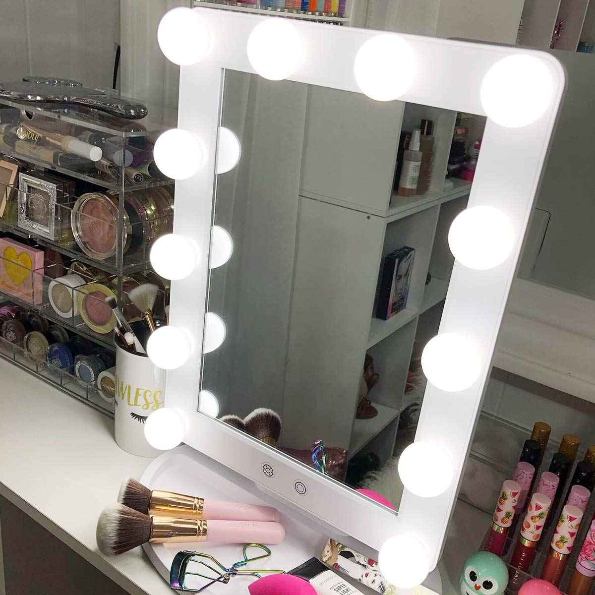 Hollywood Vanity Mirror With Lights 3 Color Lighting Modes Lighted Makeup Mirror Touch Control 12 LED Bulbs Dimmable Large Desk Mirror, 25 Tilt Free Standing Tabletop Light up Beauty Mirrors White