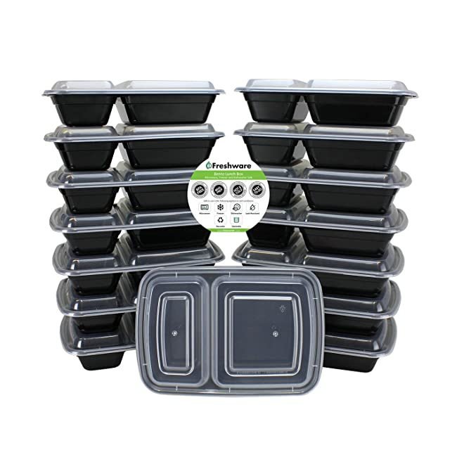 Freshware Meal Prep Containers [15 Pack] 2 Com...