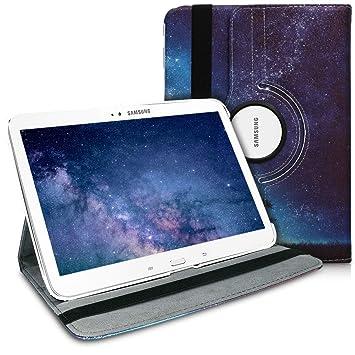 kwmobile Funda compatible con Samsung Galaxy Tab 3 10.1 P5200/P5210 - Carcasa de cuero sintético para tablet en azul / gris / negro