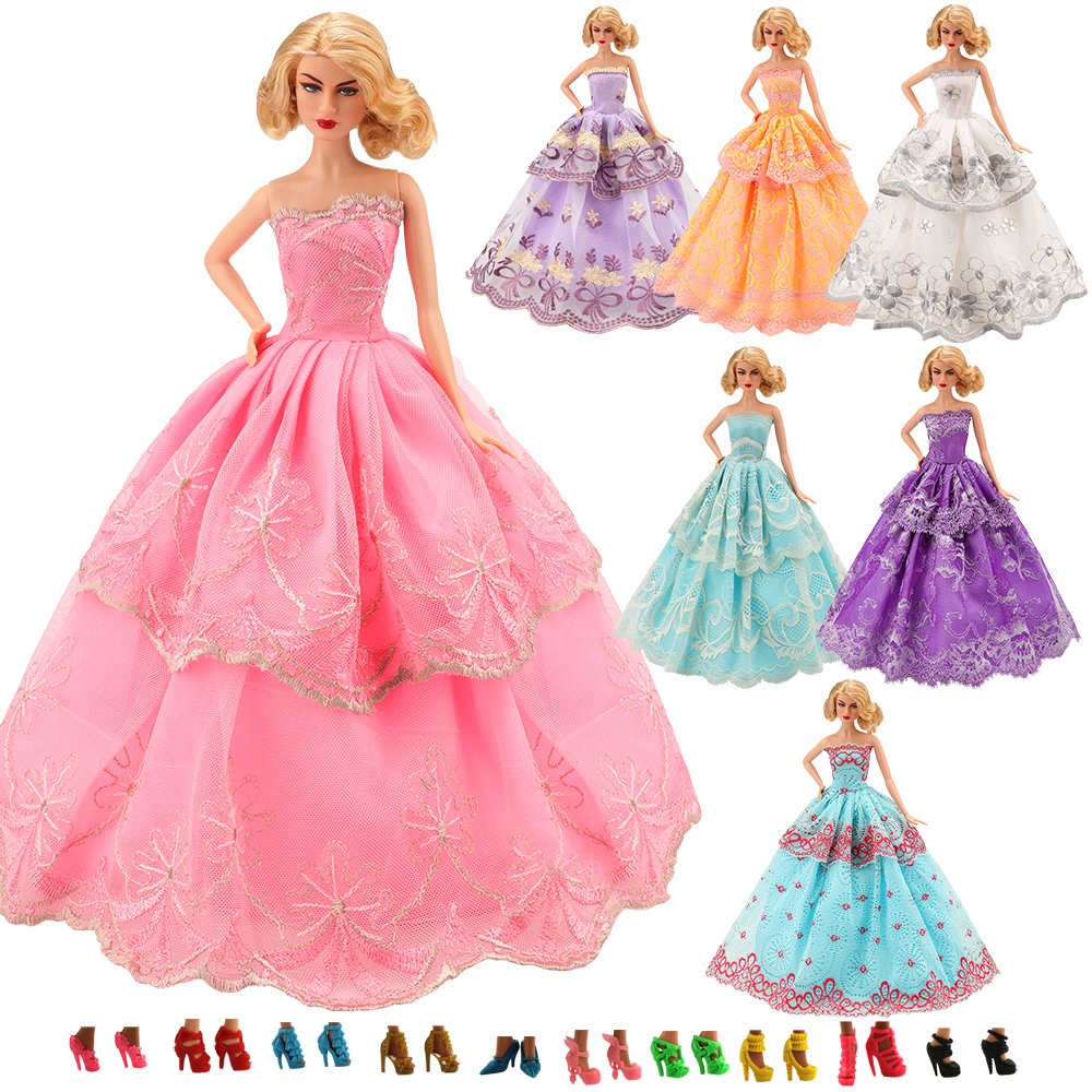 Miunana 5 Pcs Handmade Fashion Wedding Party Gown Dresses & Clothes with 10 shoes for Barbie Doll Xmas Gift .