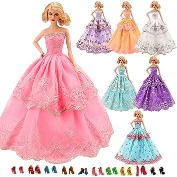 Miunana 3x Hermoso Vestidos de Noche Princesa Novia Ropas Vestir de Fiesta Boda + 5 Zapatos