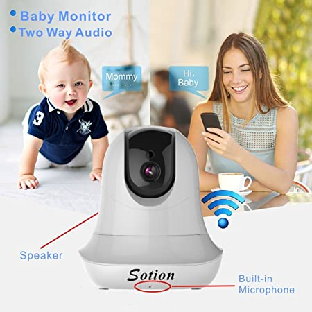 Baby and Pet Monitor with Pan and Tilt, Two Way Audio, Motion Detection Night Vision Sotion 960P WiFi Wireless IP Surveillance Security Video Camera