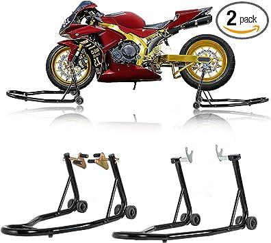 Universal Motorcycle Stand Front Rear Wheel Lift Balance Paddock Swingarm Spool