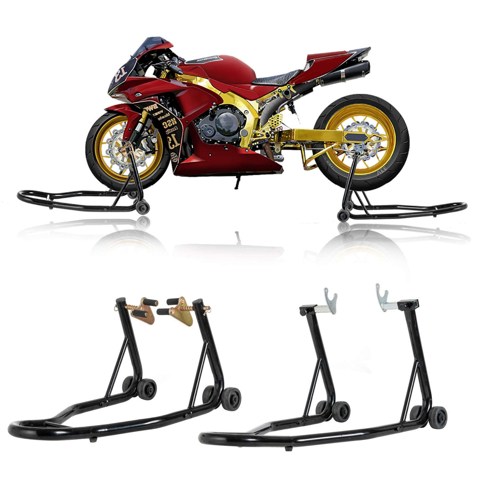 SUNCOO Pair Motorcycle Stands Front & Rear Wheel Lift Stand Set Paddock W/Swingarm Fork Spool Lift for Honda Yamaha BMW Motorbike Sport Bike Maintenance, Black by SUNCOO