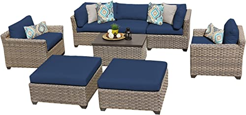 TK Classics MONTEREY-08a-NAVY Monterey 8 Piece Outdoor Wicker Patio Furniture Set