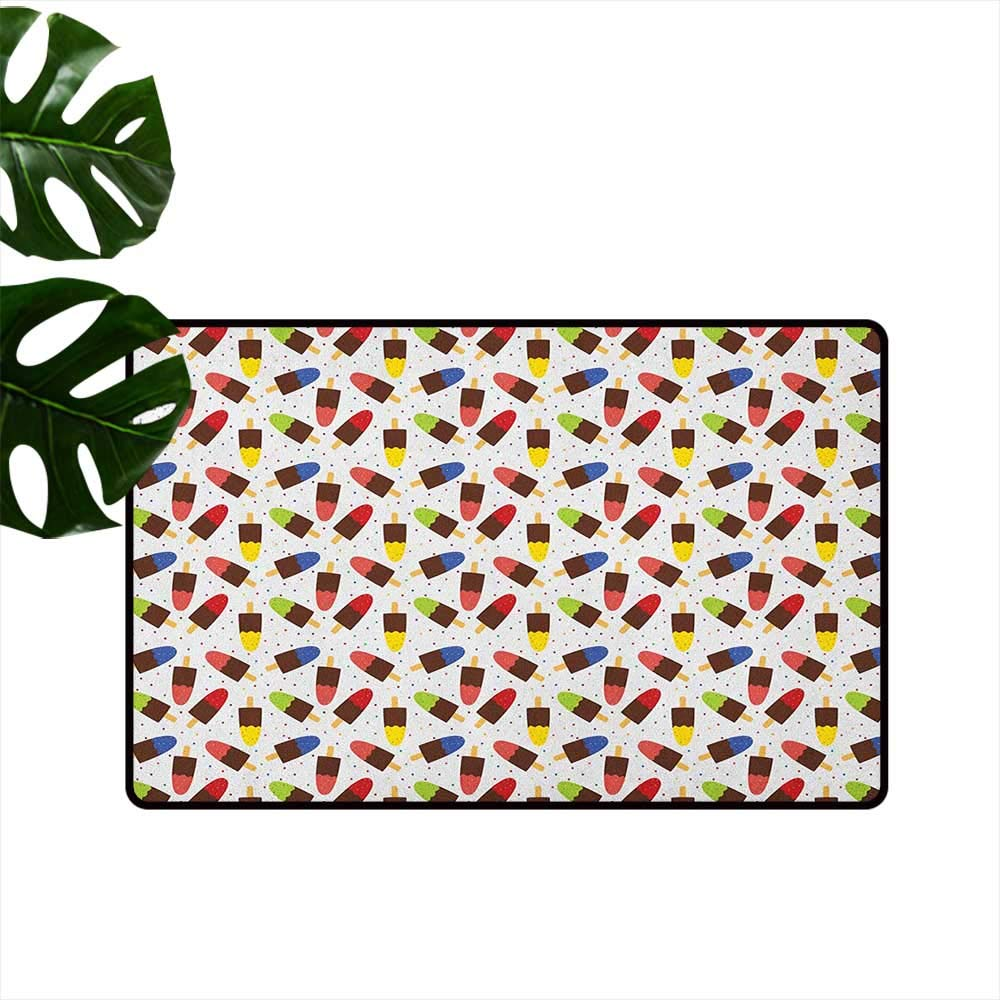 color06 W19 x L31  Ice Cream Non-Slip Door mat Cartoon Style Characters with Funny Face Expressions and Abstract Pastel Spots Easy to Clean W31 x L47 Multicolor