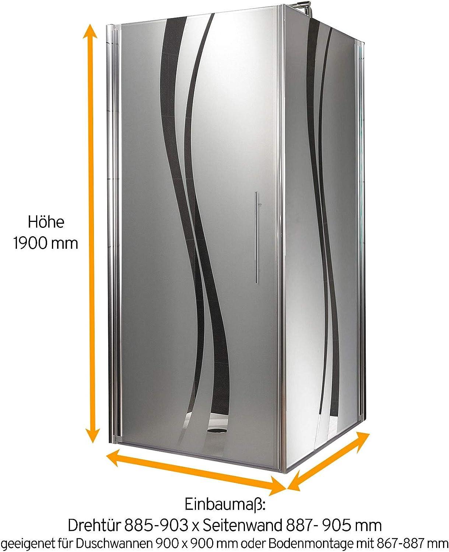 Schulte Duschkabine Glas-Dusche 90x90 5mm St/ärke Dreht/ür und Seitenwand chrom-optik Sicherheitsglas vollfl/ächig satiniert