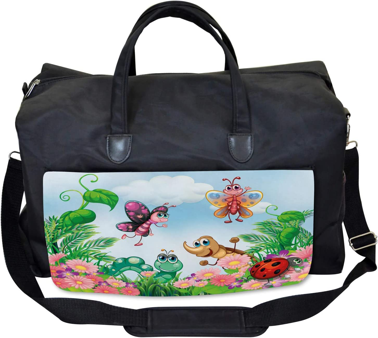 Large Weekender Carry-on Ambesonne Garden Gym Bag Butterfly Ladybug Worm