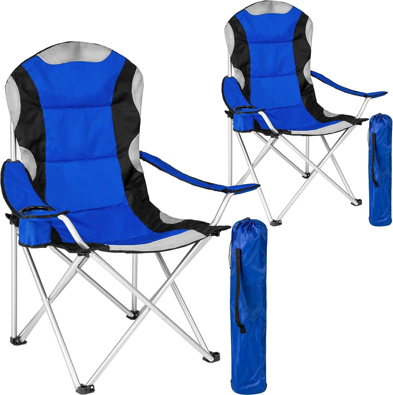 TecTake Silla de Camping Plegable + Portabebidas + Práctica Bolsa de Transporte Marco Ø: Unos 19 mm Varias cantidades -
