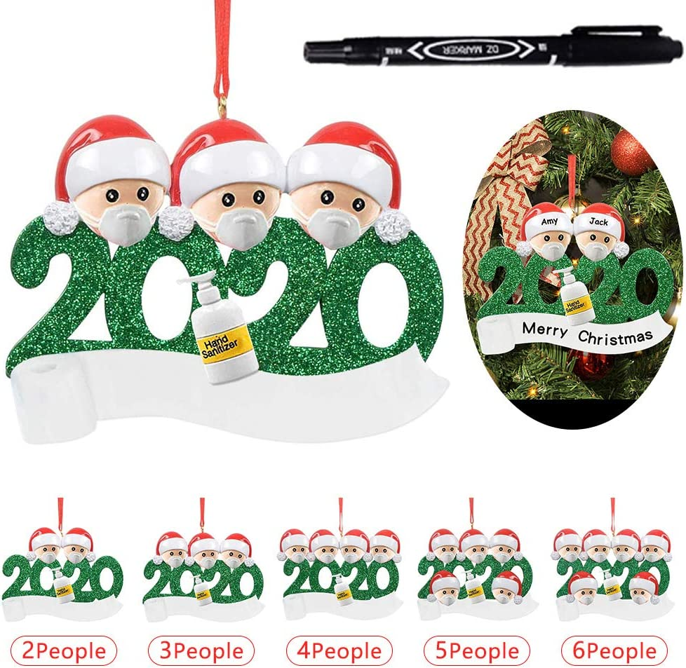 Personalized Name Christmas Ornament kit with Mask,Christmas Tree Decorations 2people//With a pen 2020 Quarantine Survivor Family Customized Christmas Decorating Kit Creative Gift for Family