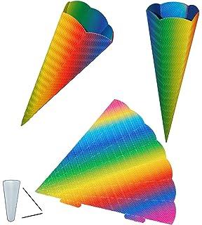 Bastelschultüte 3D Wellpappe regenbogen