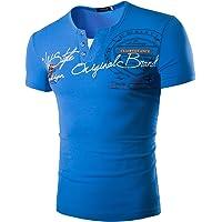 Homme T Shirt Top Chemise Blouse Tee-Shirt Col V Manches Courtes Imprimé Floral