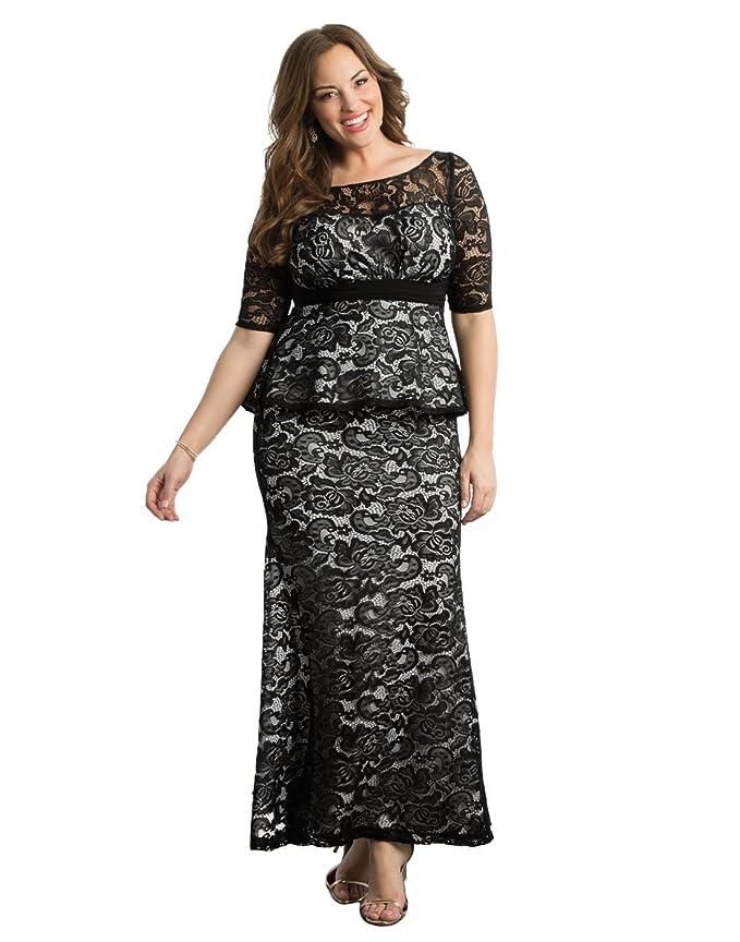 Kiyonna Women\'s Plus Size Astoria Lace Peplum Gown at Amazon Women\'s ...