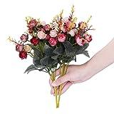 Houda - Bouquet di rose, fiori artificiali in seta, rami con boccioli, decorazione floreale per matrimonio, confezione da 2 Smaller Style Pink