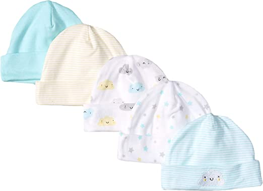 Gerber Baby Girls 5-Pack Caps