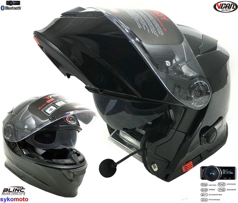 VCAN V271 Motorrad Bluetooth Fahrradhelm Gl/änzend Schwarz Modular hochklappbar ECE Zertifiziert FM Doppelspiegel Anti-Nebel Visier 2XL 63-64 CM