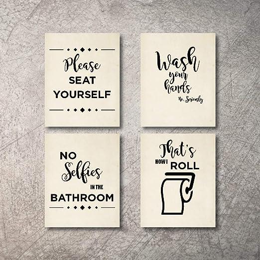Amazon.com: Juego de 4 letreros de baño para decoración de ...