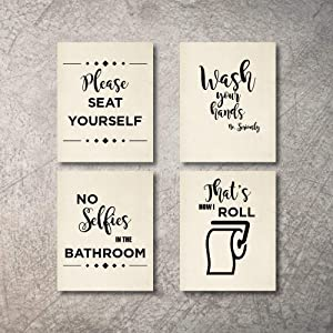 Bathroom Decor Wall Art 4 Prints NO Selfies in Bathroom Signs Set NOT Framed - Funny Artwork Decoration Pictures for Bath Home Farmhouse Country Fun Rustic bathrooms Quotes decore Cute Decor (8x10)