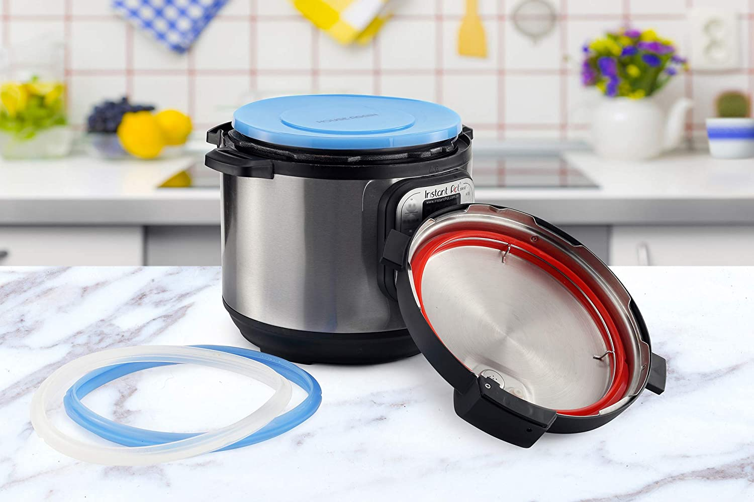Lid Cover Fit Snugly for 6 Quart Edition Rings Easy Clean for Pressure Cooker Replacement 2 Pack Rings Sweet and Savoury Silicone Ring and Silicone Lid for Pressure Cooker Red//Blue