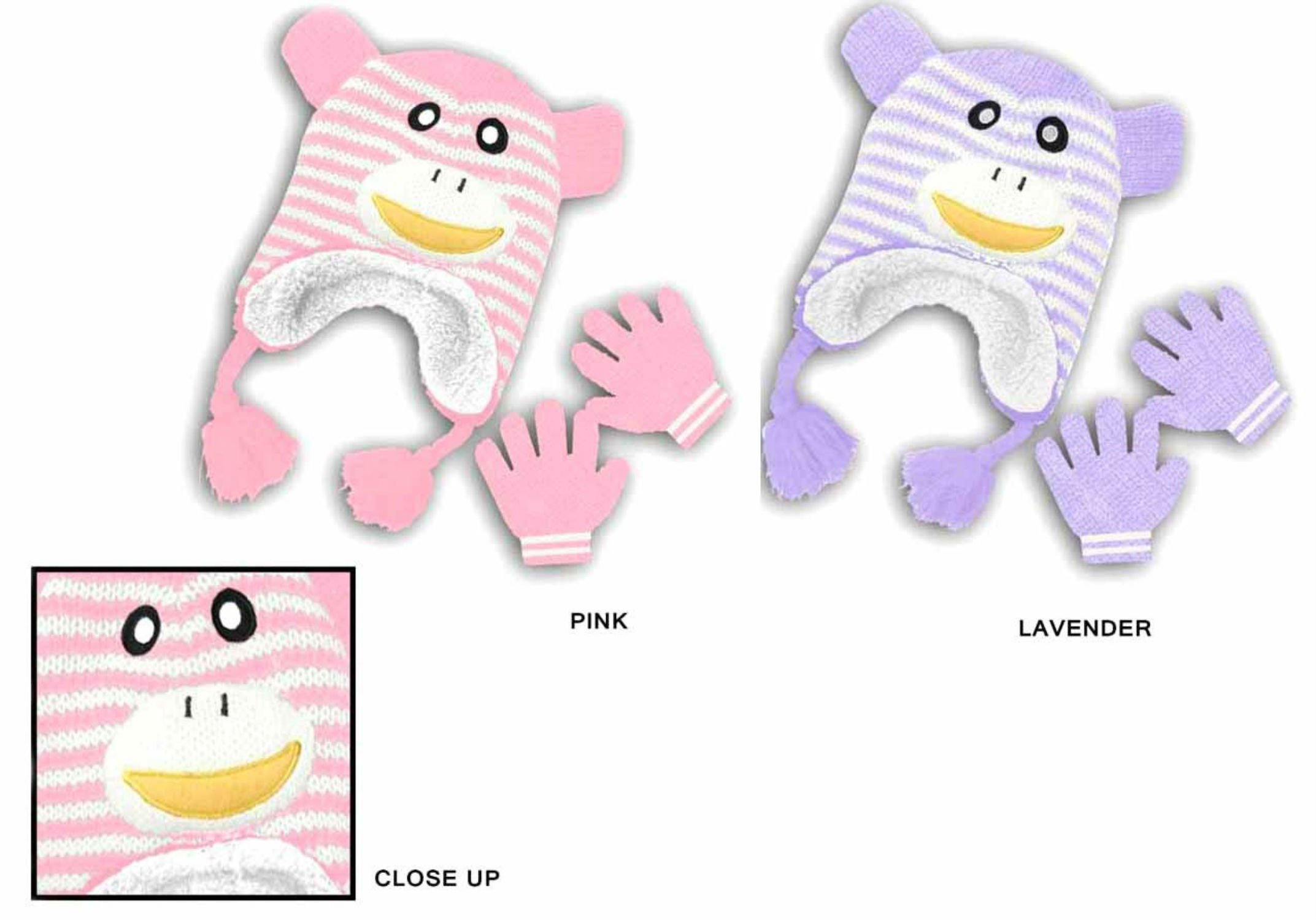 Baby Girl Kids Toddler Cute Fuzzy Gloves and Hat - Monkey Designs (Pink)