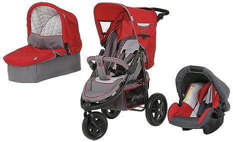 Hauck Viper Trio - Carrito convertible para bebé, color gris y rojo