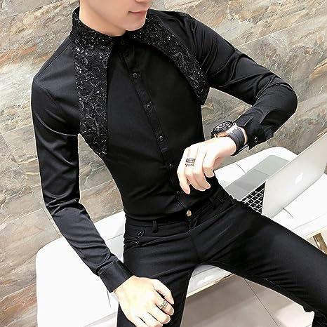 MKDLJY Camisas Camisa de Encaje para Hombre Camisas de Esmoquin de Boda para Hombre Camisa de Manga Larga de Social Club Party 2019 Moda Negro Blanco Vestido: Amazon.es: Deportes y aire libre