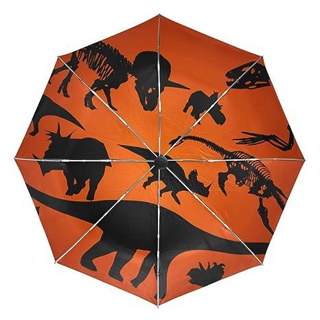 COOSUN Silueta del Dinosaurio automático 3 Plegable del Paraguas del Parasol Color # 002
