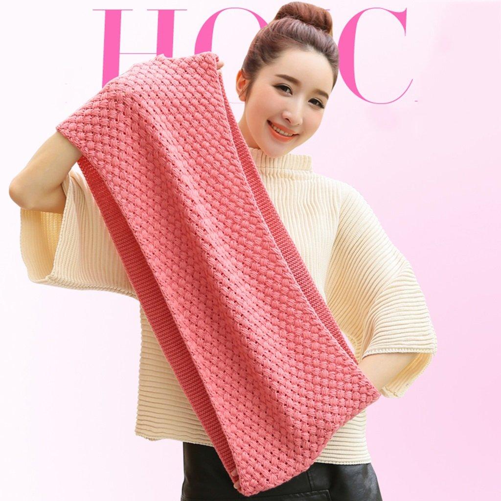 Bufanda collar invierno dama moda lana lujo súper suave cómodo cálido enrejado color sólido tejido d...