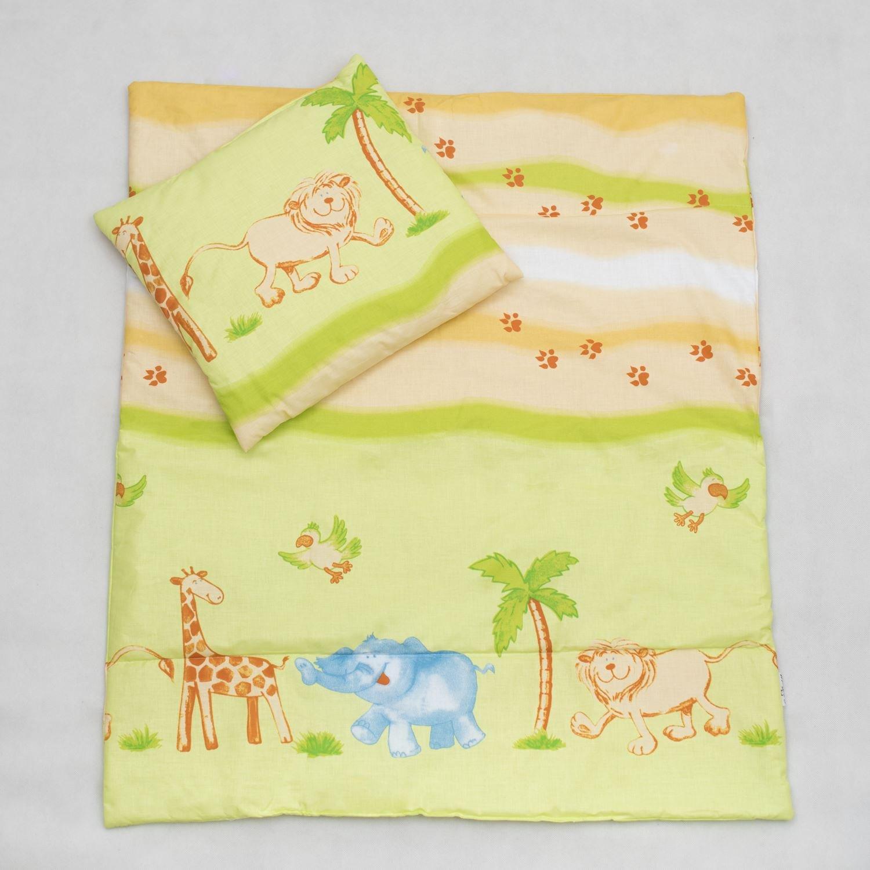 2 Piece Duvet Pillow Set For Crib, Cradle, Pram, Filling Baby Bedding Set - SAFARI LIME GREEN Baby Comfort