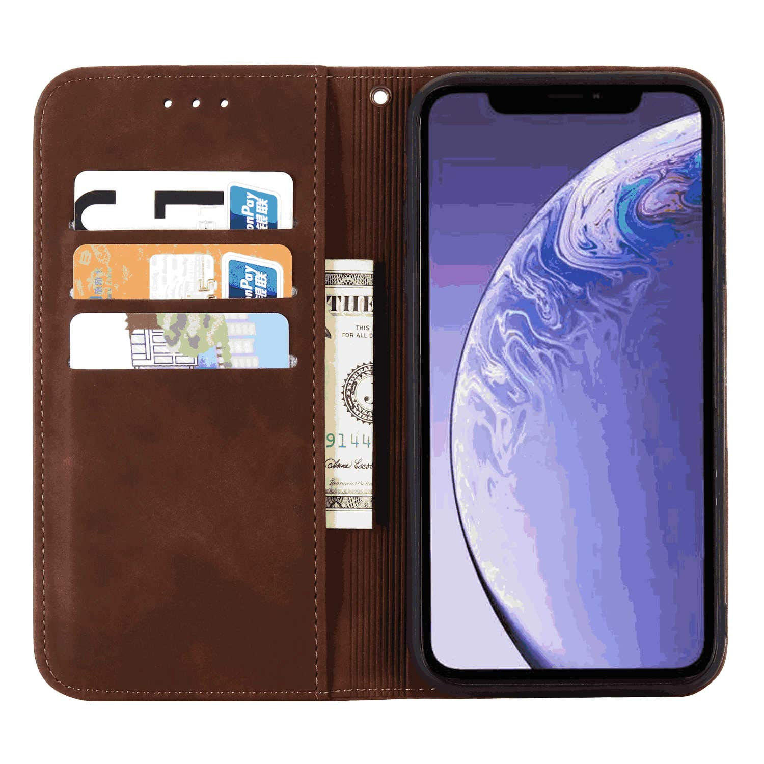Cover for iPhone 11 Pro Max Leather Card Holders Premium Business Kickstand Cell Phone Cover with Free Waterproof-Bag Elegant iPhone 11 Pro Max Flip Case