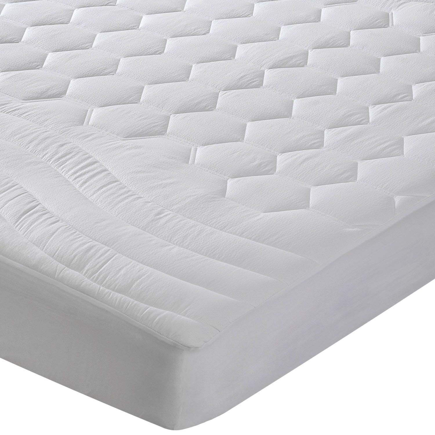 Bedsure Mattress Pad Twin Size Hypoallergenic - Antibacterial, Breathable - Ultra Soft Quilted Mattress Protector, Fitted Sheet Mattress Cover White