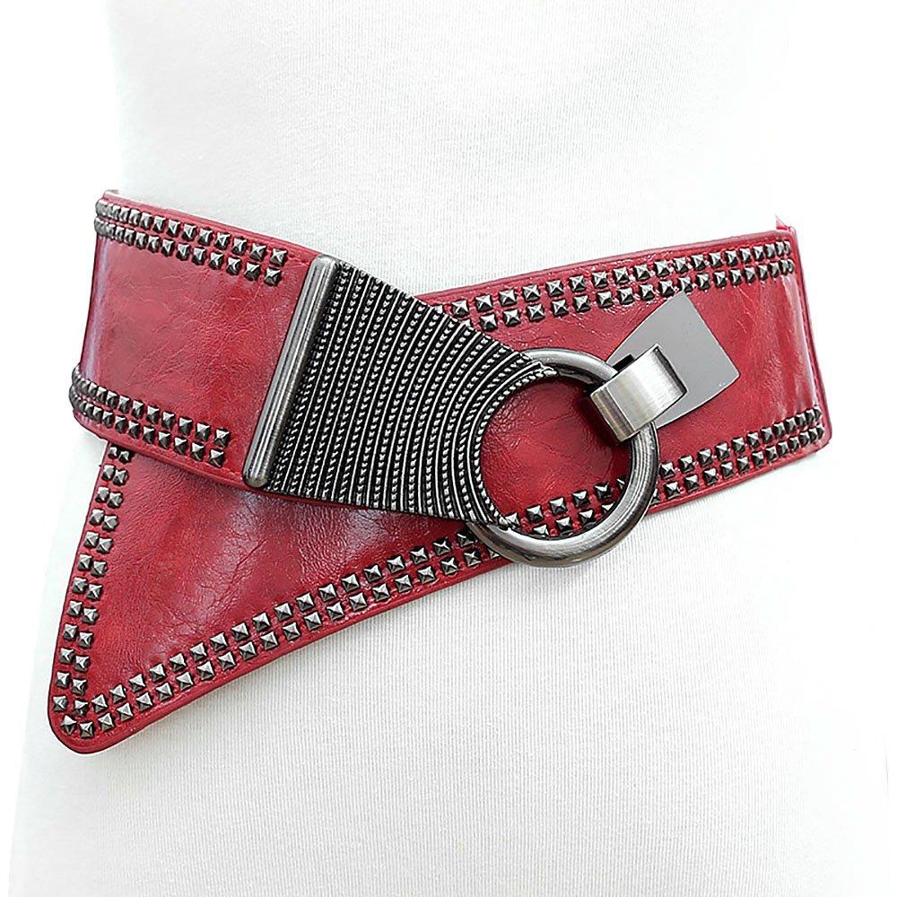 Women Ladies Waist Leather Wide Elastic Waistband Punk Rivets Dress Belt Ya Jin