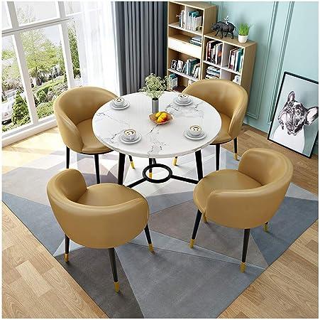 ZCXBHD Comedor y 4 sillas Madera Redonda Mesa sillas de Cuero Juego Mesa Comedor para Cocina Comedor Coffee Leisure 5 Piezas (Color : Khaki): Amazon.es: Hogar
