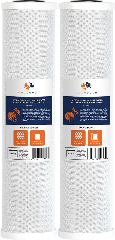 Aquaboon 5 Micron 2 Pack 20 X 4.5 Carbon Block Filter