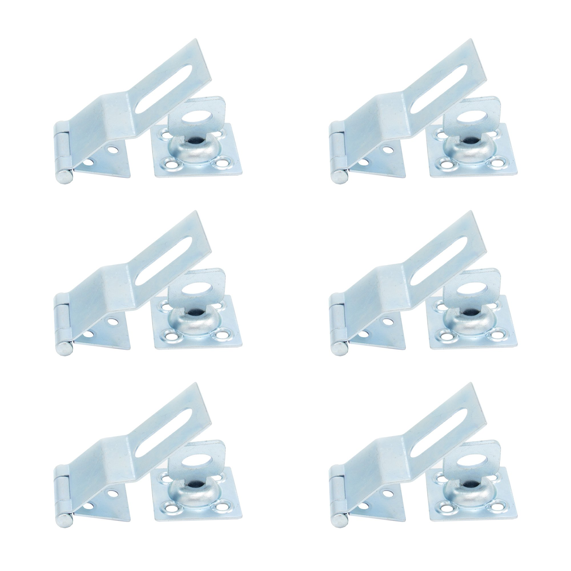 (6 Pack) ELBA Security Hasp 3.5 inches, Heavy Duty Can be Used Indoors and Outdoors on Gates or Windows, for Safety and/or Decorative Combination. Bolt Your House Shut by Adding a Padlock to Hasp!