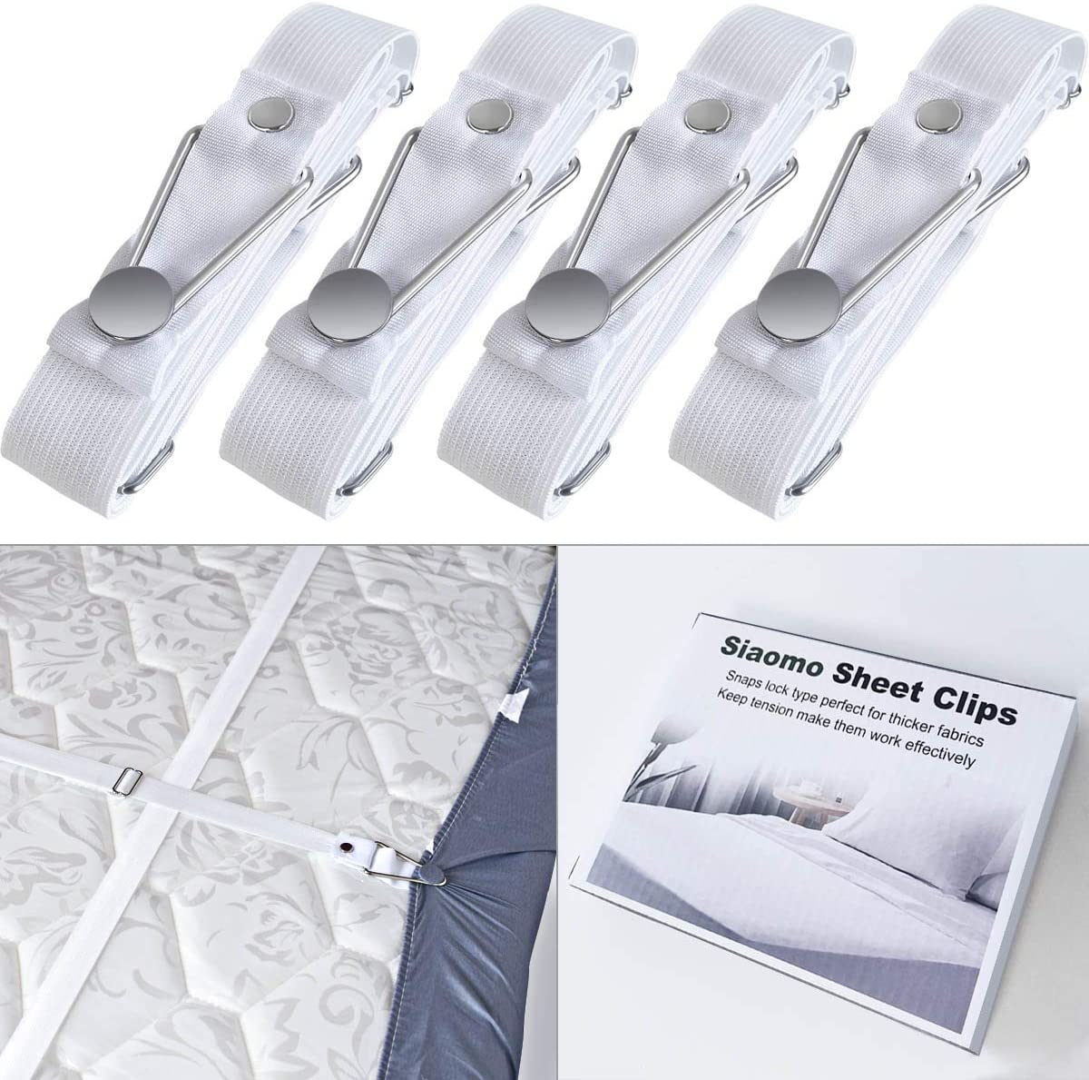 Mattress Pad Covers Bed Sheet Fasteners,Adjustable Triangle Heavy Duty Elastic Sheet Band Straps Suspenders Corner Gripper Holder Clip for Fitted Bed Sheets white 4pcs) Sofa Cushion (black 4pcs
