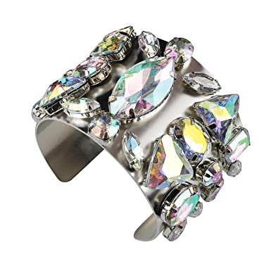 Holylove Bangle Bracelet Silver for Women Jewelry Crystal Glass 1 PC with Gift Box HEpENn