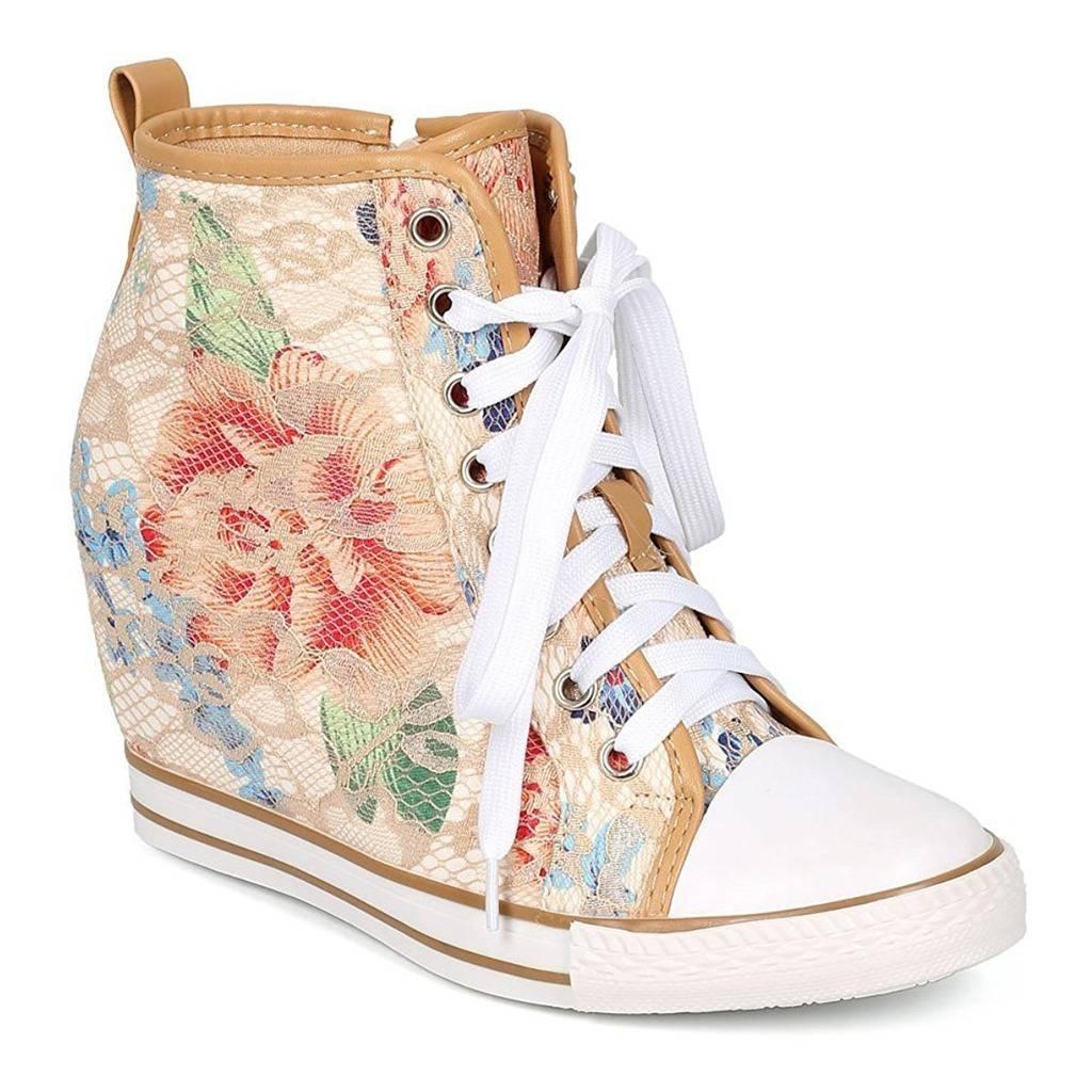 WestCoast Women Lace Floral Lace up Zip Wedge Sneaker - Beige 11