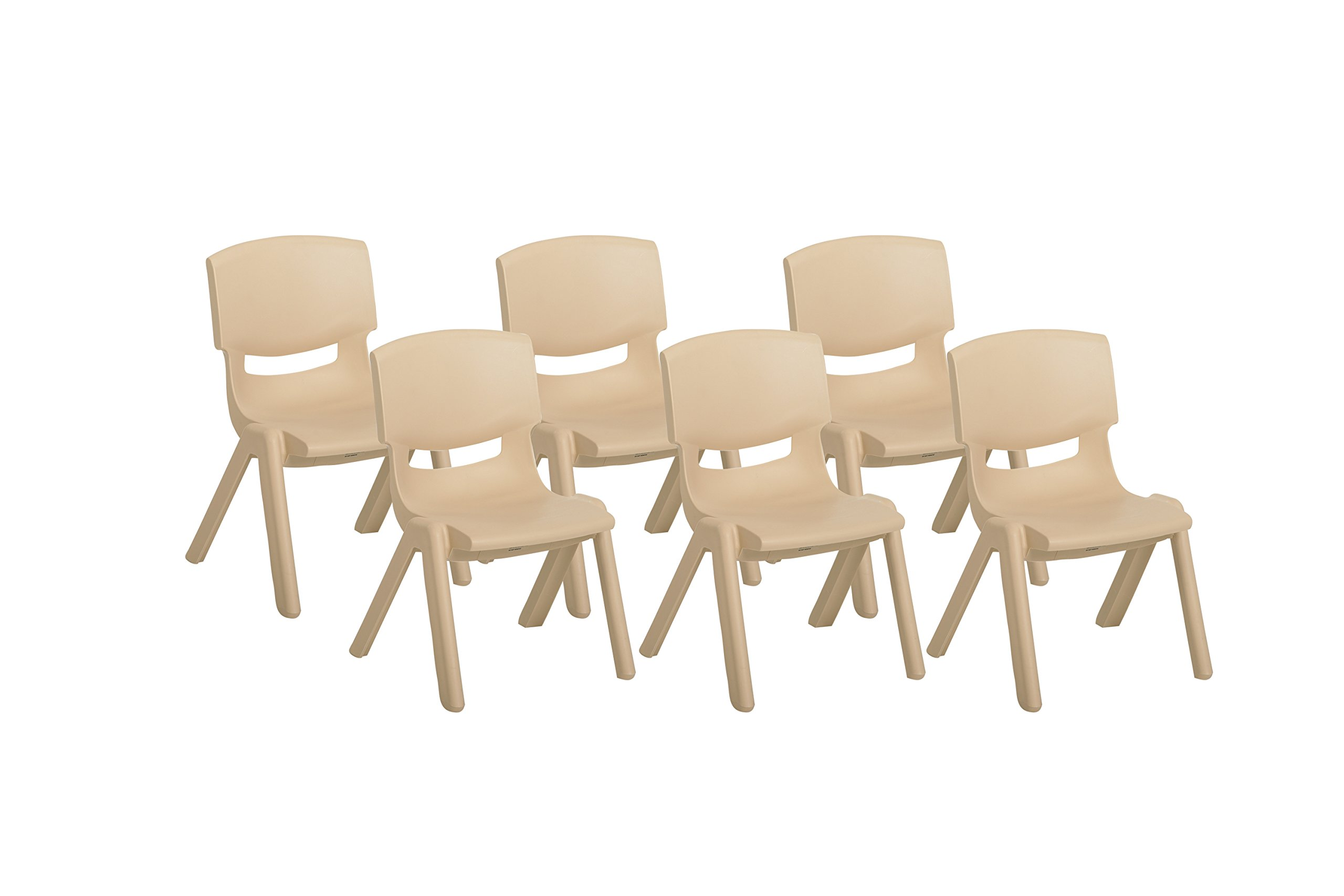 ECR4Kids School Stack Resin Chair, Indoor/Outdoor Plastic Stacking Chairs for Kids, 14 inch Seat Height, Sand (6-Pack)