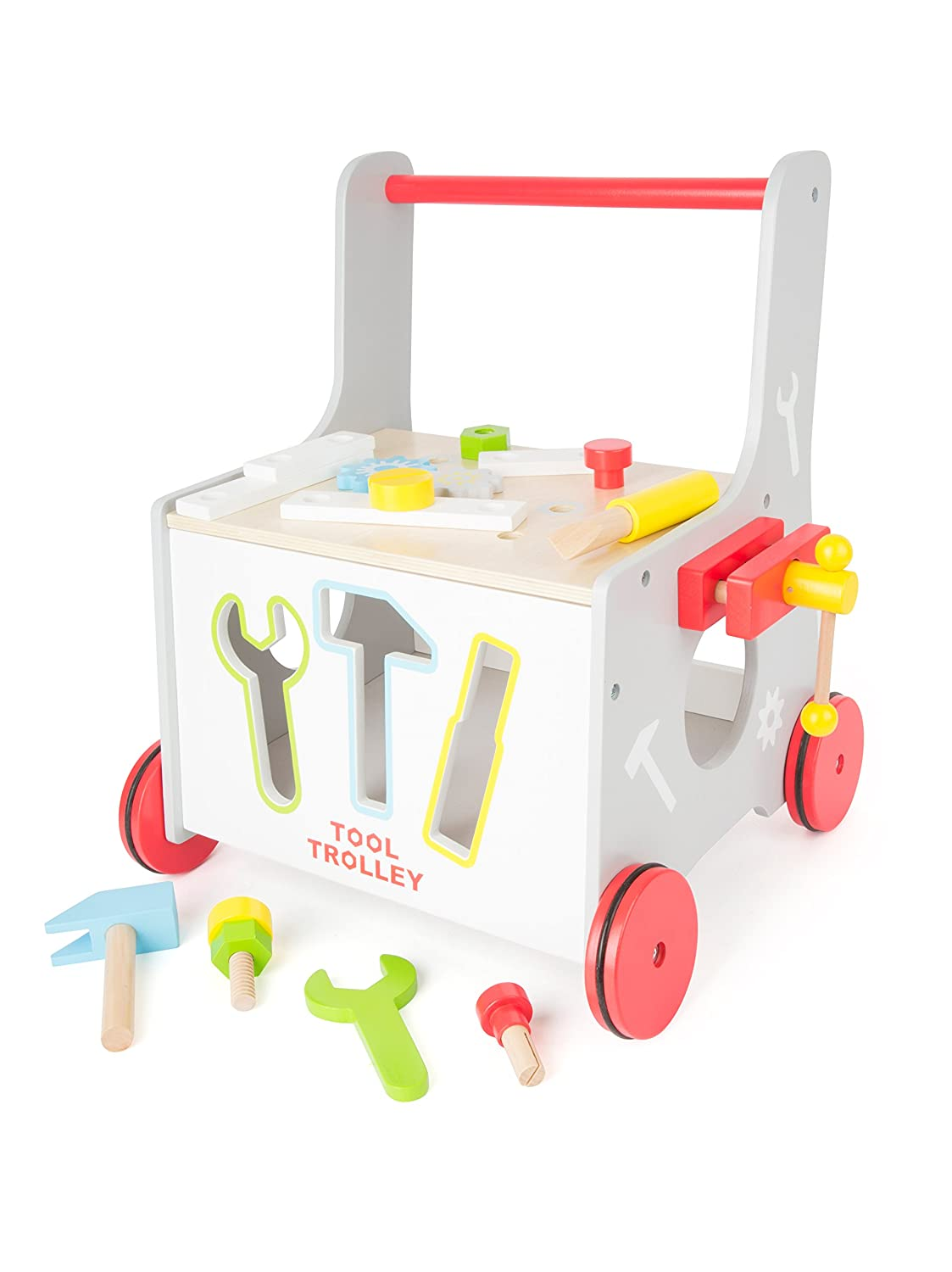 2-in-1 Baby Walker, Tools, Workshop, Walking Assistant, Shape Fitting Game with rubber-finished wheels, 34 x 36 x 44 cm, set of 13 accessories Small Foot