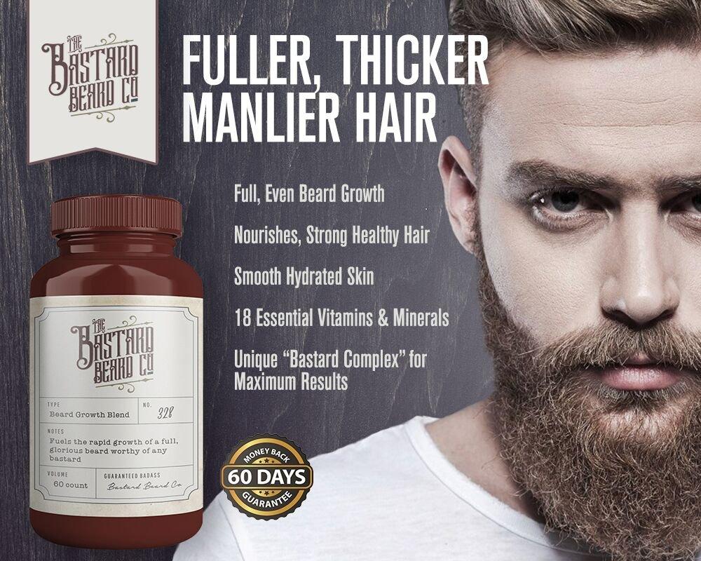 Amazon Com The Bastard Beard Co Organic Beard Growth Vitamins For