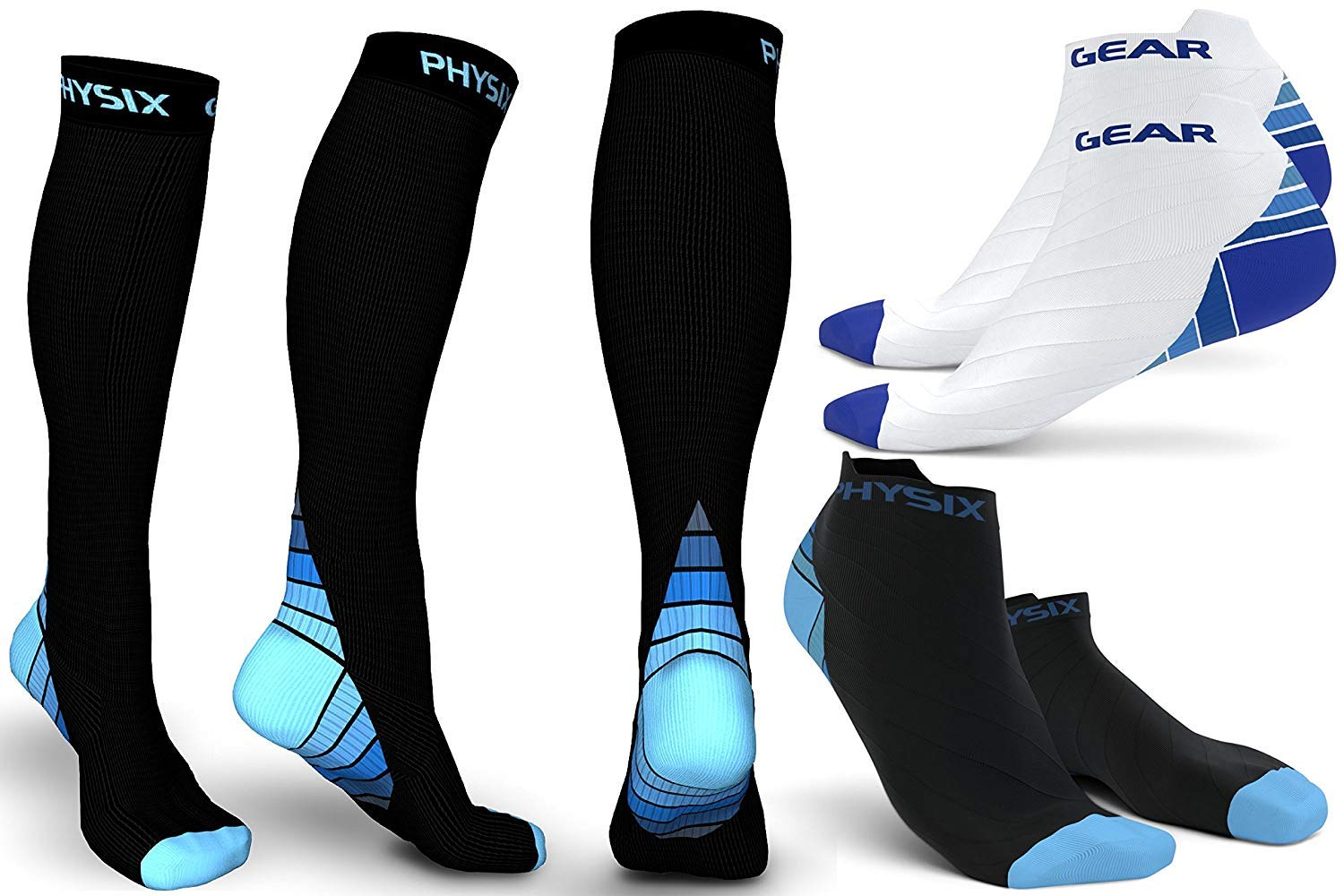 3 Pack Compression Socks for Men & Women 20-30 mmhg, Best Graduated Athletic Fit for Running Nurses Shin Splints Flight Travel & Maternity Pregnancy - Boost Stamina Circulation & Recovery BLU LXL by Physix Gear Sport (Image #1)