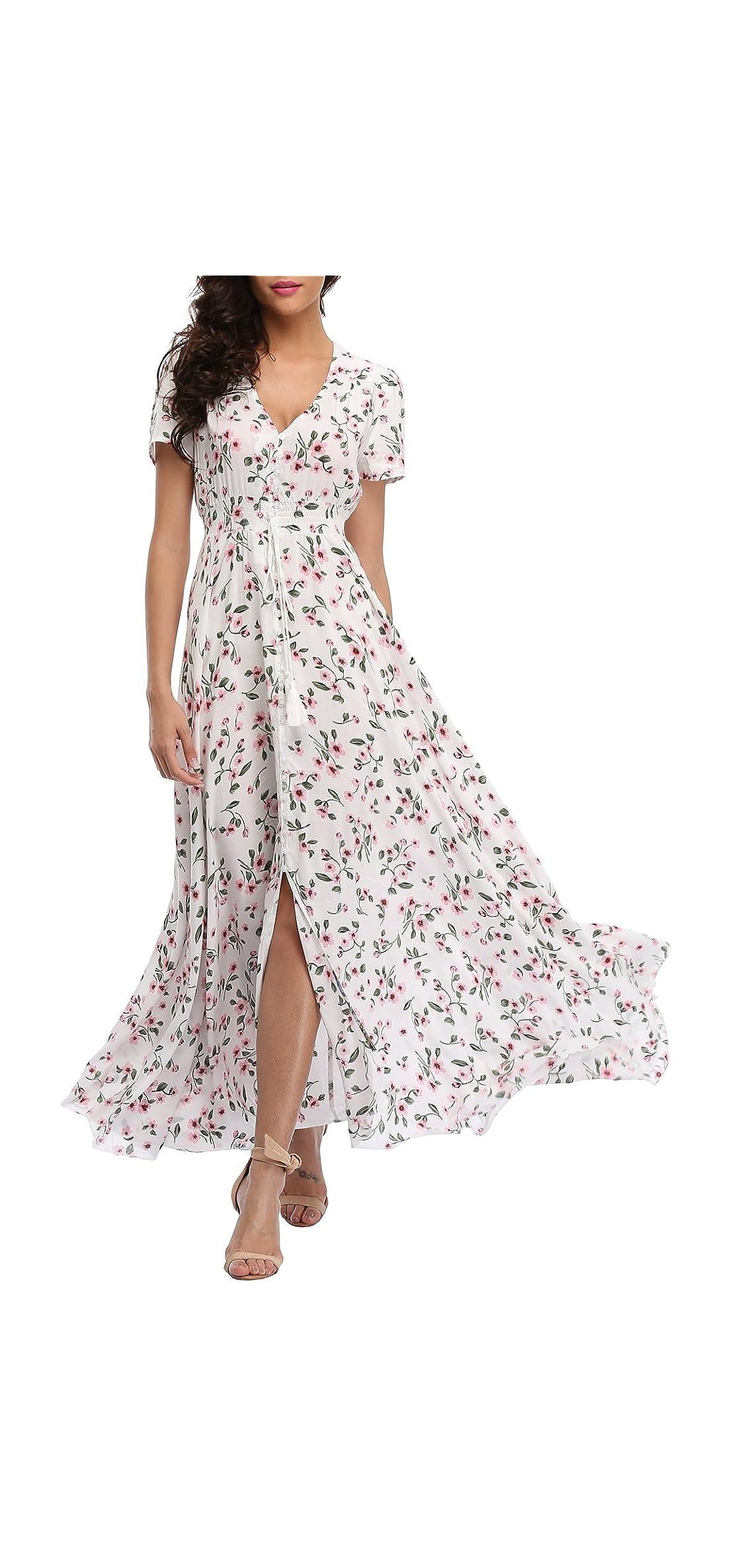 Women's Floral Maxi Dresses Boho Button Up Split
