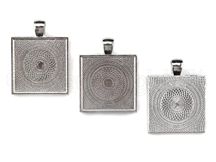 Amazon 20 cleverdelights square pendant trays shimmering 20 cleverdelights square pendant trays shimmering silver color 1 inch 25mm pendant mozeypictures Choice Image