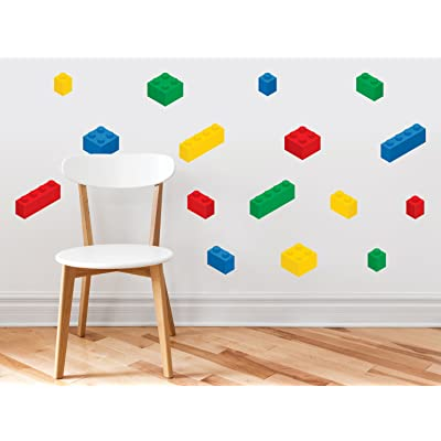 Sunny Decals Lego Inspired Building Blocks Wall Decals - Set of 16 Removable Fabric Kids Wall Stickers, Primary Colors: Baby