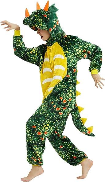 ABENCA Men Triceratops Dinosaur Onesie Women Pajamas for Adult Cartoon One Piece Animal Halloween Christmas Cosplay Costume