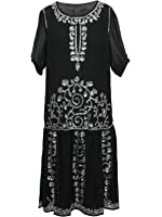 Vijiv Women's Black 1920s Vintage Charleston Chiffon Beaded Sequin Flapper Dress