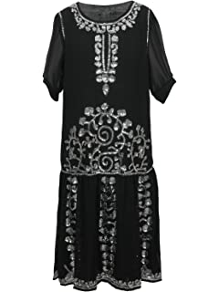 6f7dc668eb5 Vijiv 1920s Vintage Beaded Embellished Gatsby Flapper Party Cocktail Dress  with 3 4 Sleeves